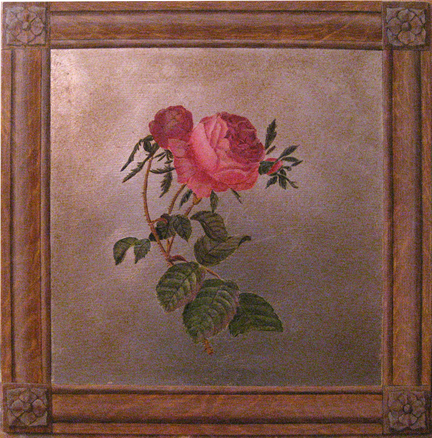 Oak wood faux finish around roses painted on silver leaf