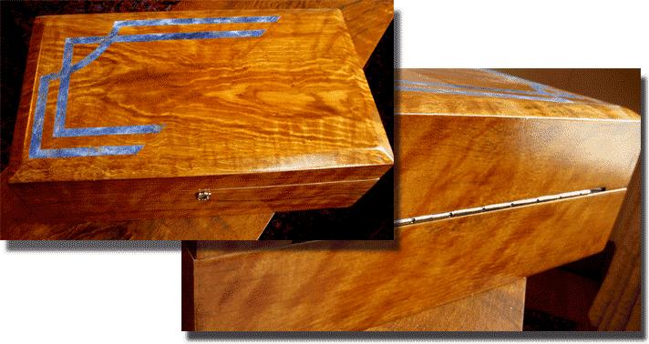Wood Faux Finish Oak/Lapis Lazuli Reclaimed Jewelry Box