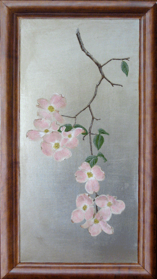 Dogwood floral on silver leaf with Trompe L'Oeil faux wood paint art frame