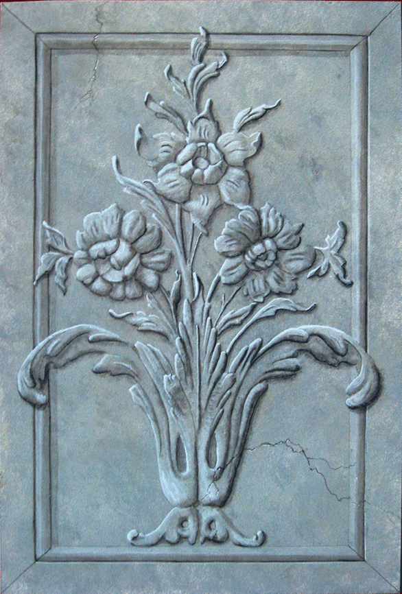 Trompe L'Oeil faux stone Acanthus panel by Norman Petersen