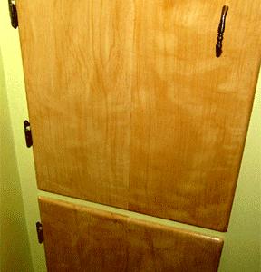 Faux painted bathroom cabinet doors