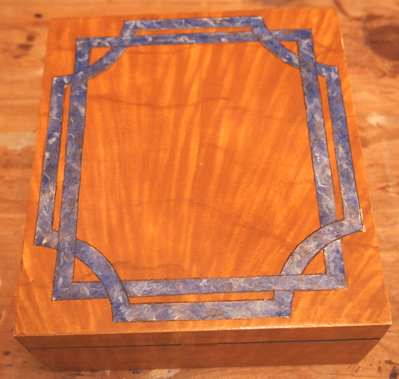 Faux Painted Curly Maple & Lapis Box