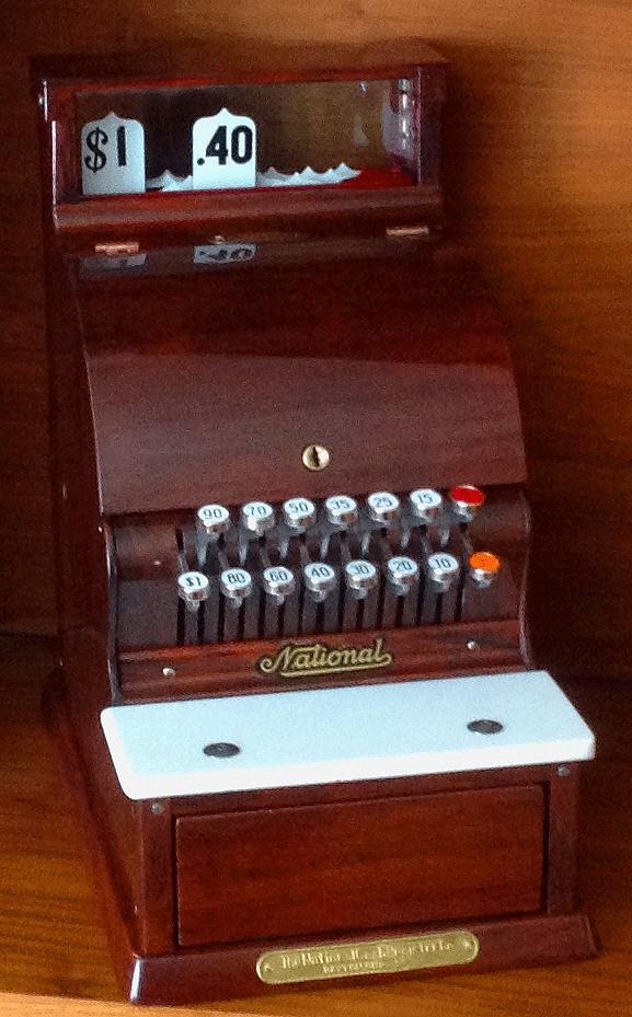 Antique NCR restored faux woodgrain front  view