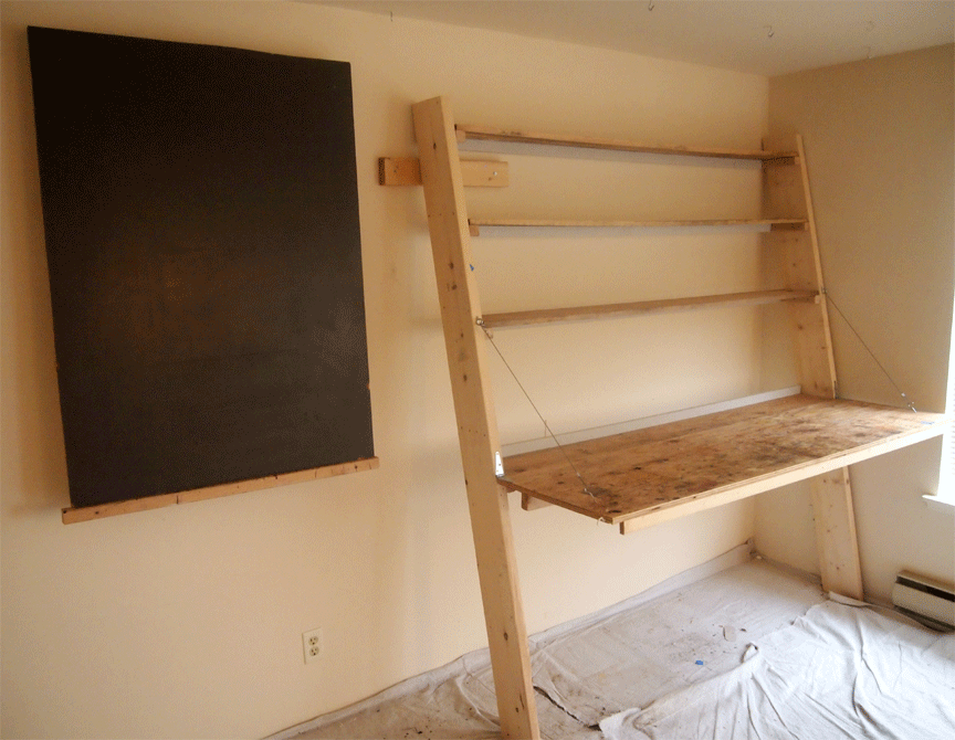 faux finishing studio bench, shelves and easel