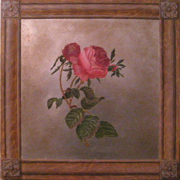Faux Wood Grain Frame and Silver Leaf Rose Panel
