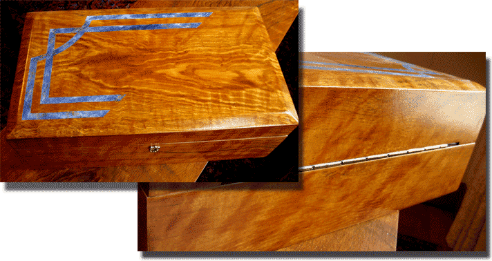 Wood Faux Finish Oak/Lapis Lazuli Reclaimed Jewelry Box perfect woodgrain