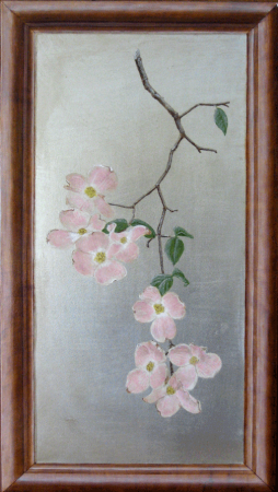 Dogwood floral on silver leaf and painted faux oak frame