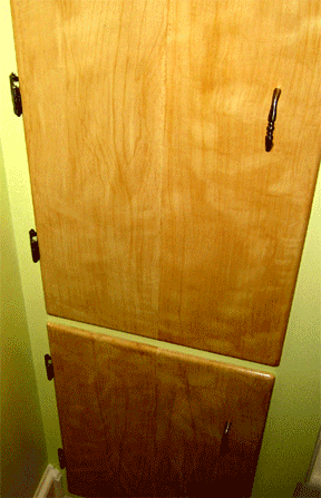Faux painted bathroom cabinet doors