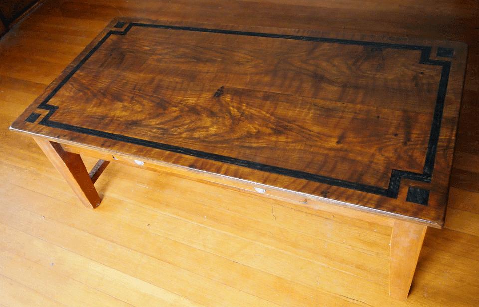 oak woodgrain painted coffee table with macassar ebony inlay