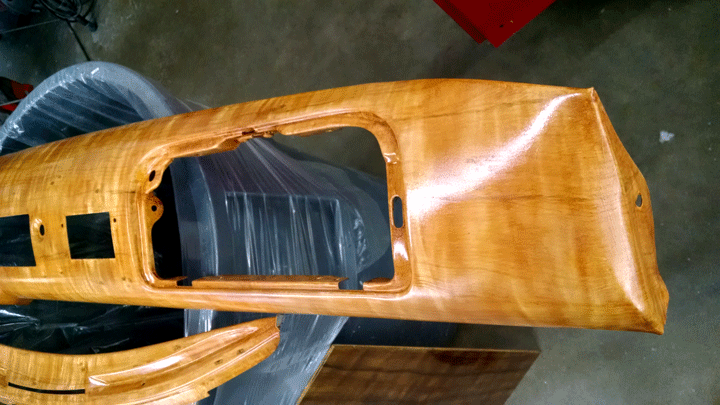 Perfectwoodgrain Hudson faux woodgrain dash and escutcheons ready for clear coat
