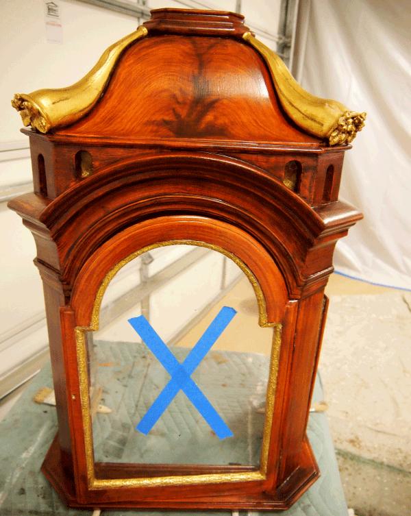 Mahogany Faux Wood Paint Swedish Tall Clock Bonet in