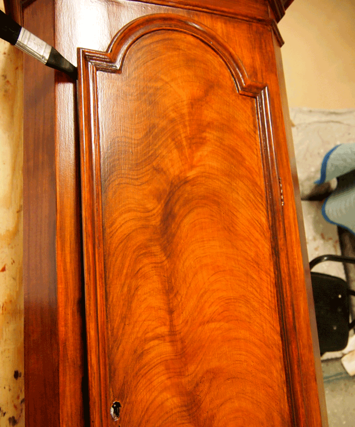 Antique Swedish Tall Clock PerfectWoodGrain.com Completed Mahogany Faux Wood Paint on
