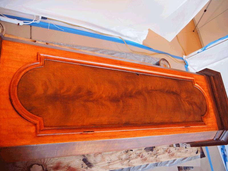 antique clock restoration perfectwoodgrain.com Crotch or Flame Mahogany Faux Wood Paint
