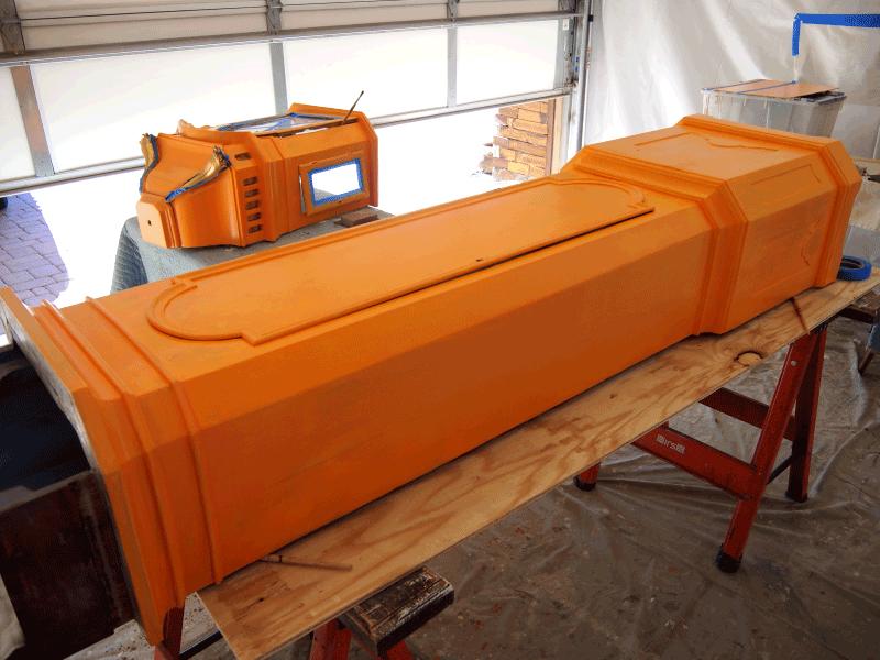 mahogany faux wood paint clock project perfectwoodgrain.com Orange layer