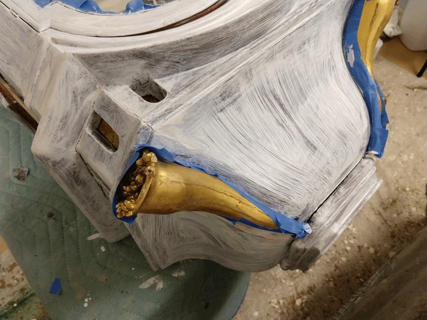 Primed Perfecwoodgrain.com Mahogany Faux Wood Paint Swedish Clock Restoration